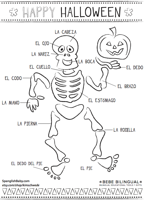 Skeleton Spanish Coloring Page