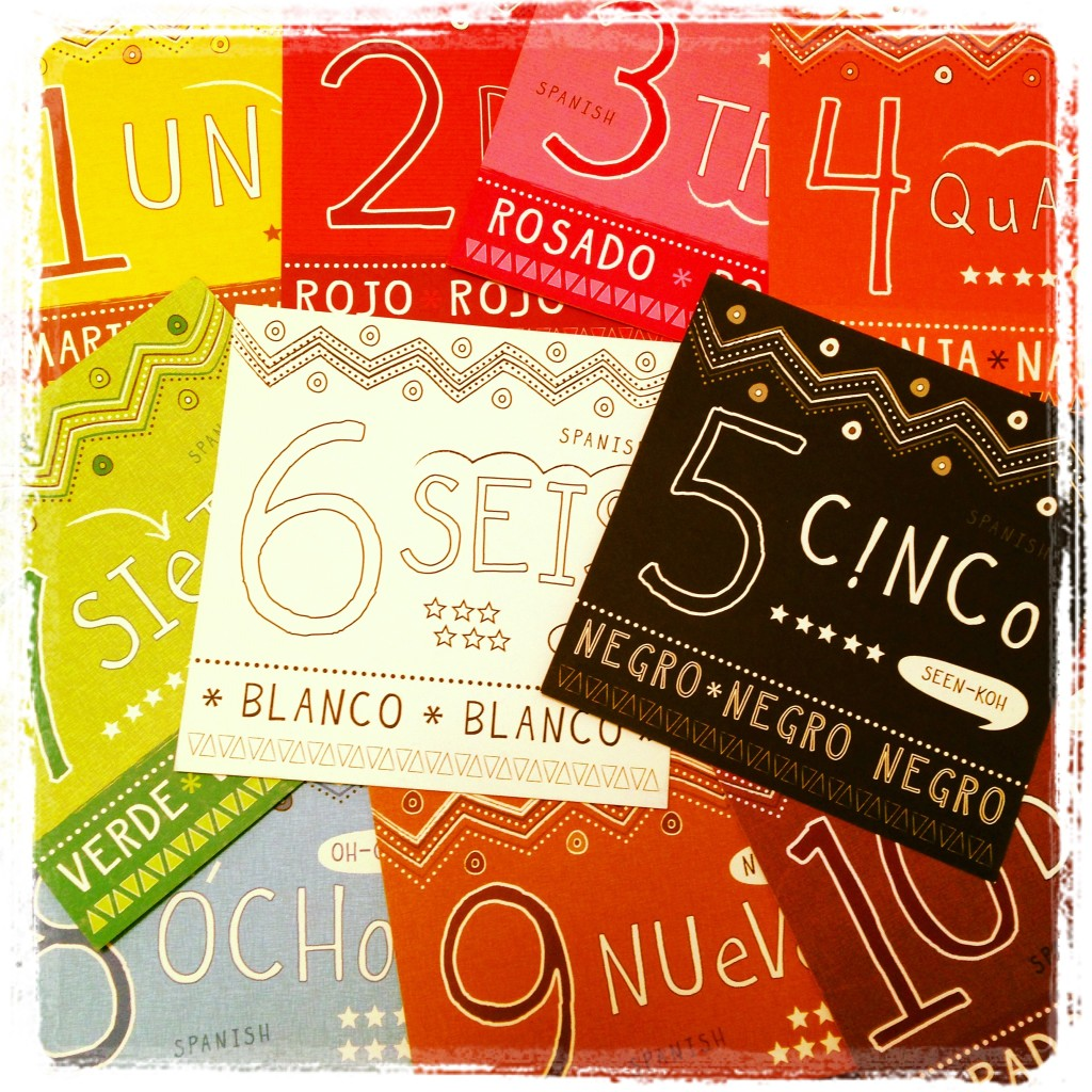 Bilingual numbers flash cards