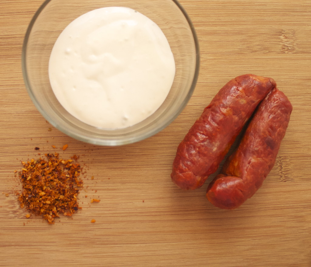 Red chorizo, blue cheese dressing and chipotle blend seasoning.