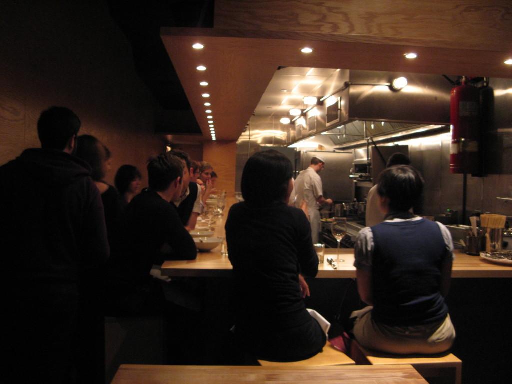 inside of Momofuku Ko interior dor dinner