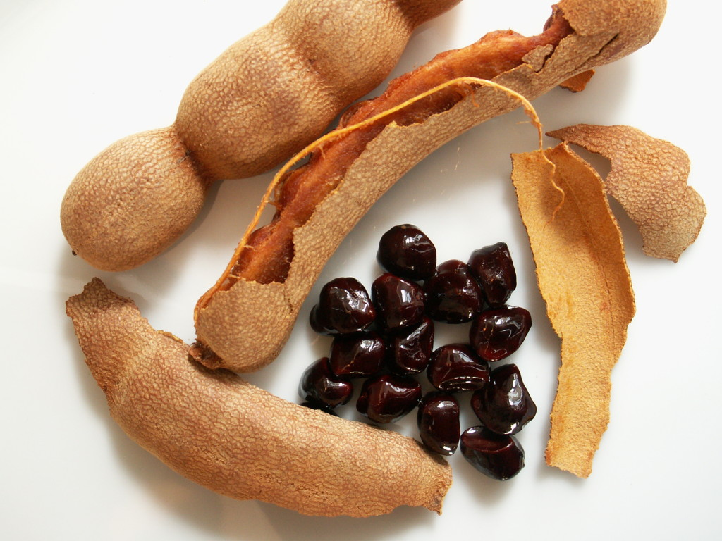 Tamarind fruit and seeds
