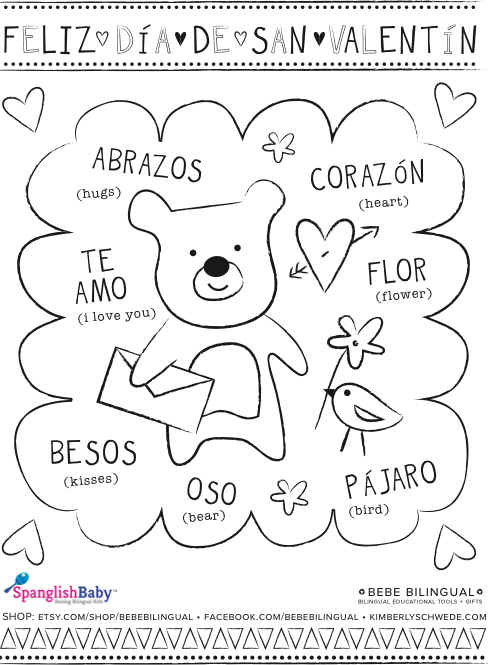 spanish activities printables for el d a del cari o growing up bilingual. Black Bedroom Furniture Sets. Home Design Ideas