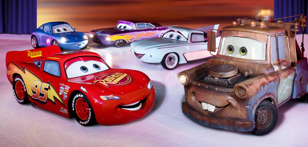 Lightning McQueen and friends. Disney on Ice Worlds of Fantasy show. Image: Feld Entertainment.