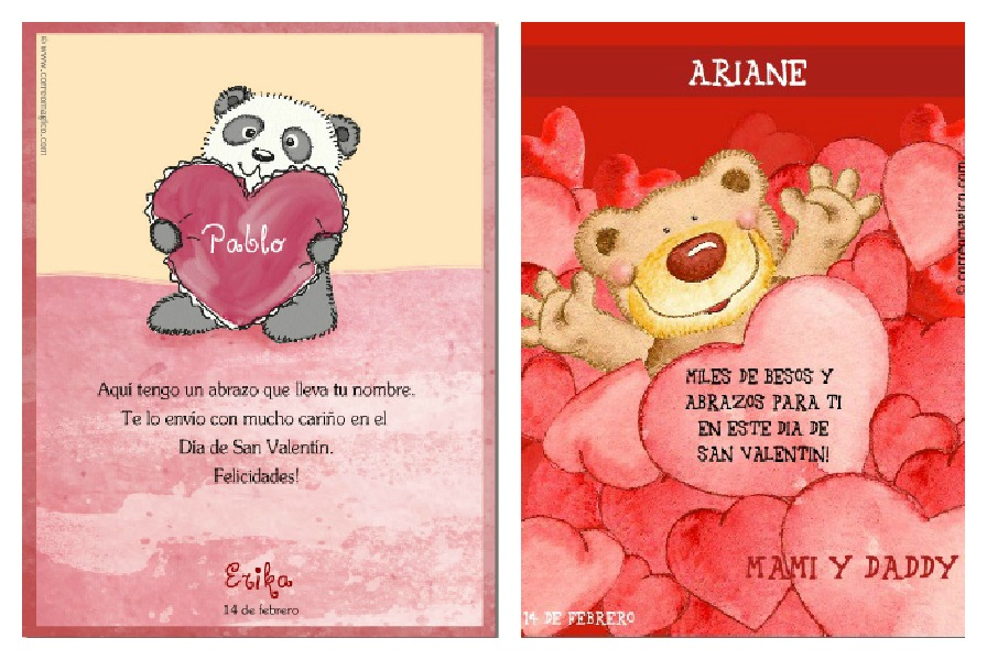 Free printable personalized Spanish Valentine's Cards.