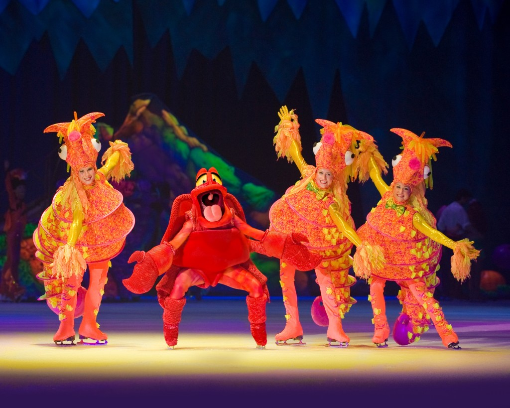 Sebastian the crab dancing with sea horses. Disney on Ice Presents Worlds of Fantasy. Image: Feld Entertainment.