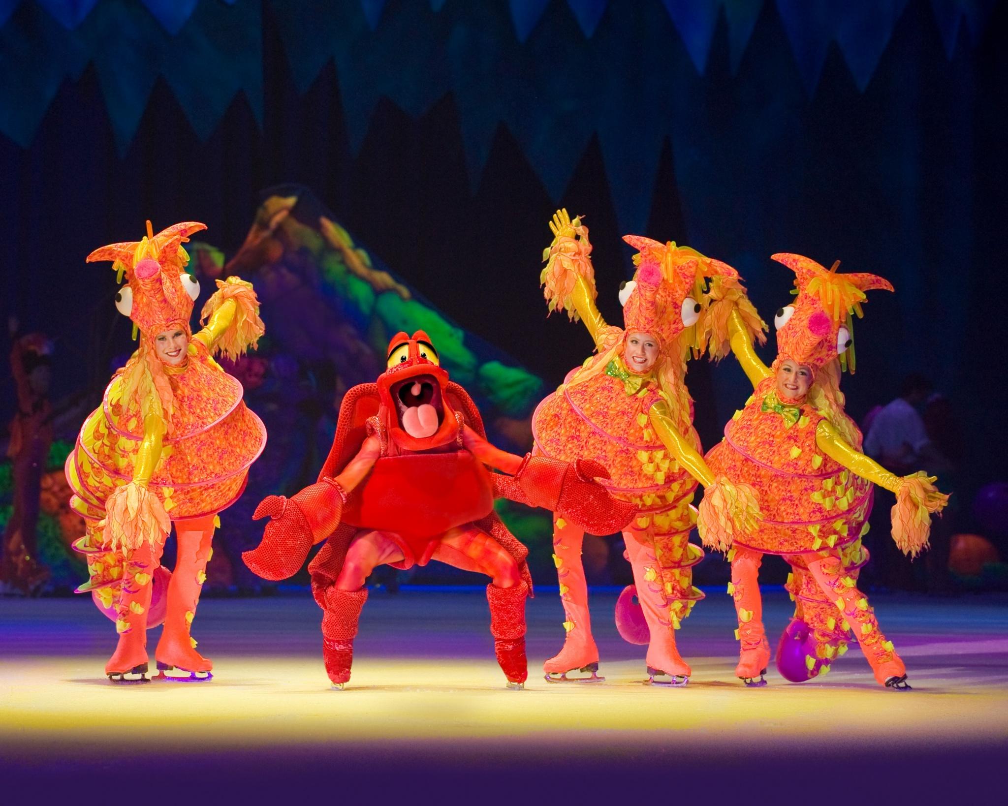 Sebastian the crab dancing with sea horses. Disney on Ice Presents Worlds of Fantasy. Image: Feld Entertainment.