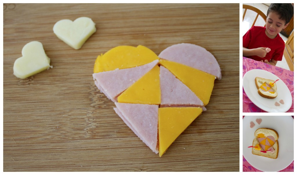 Ham and cheese deconstructed heart sandwich.