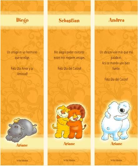 Día del Cariño y la Amistad bookmarks