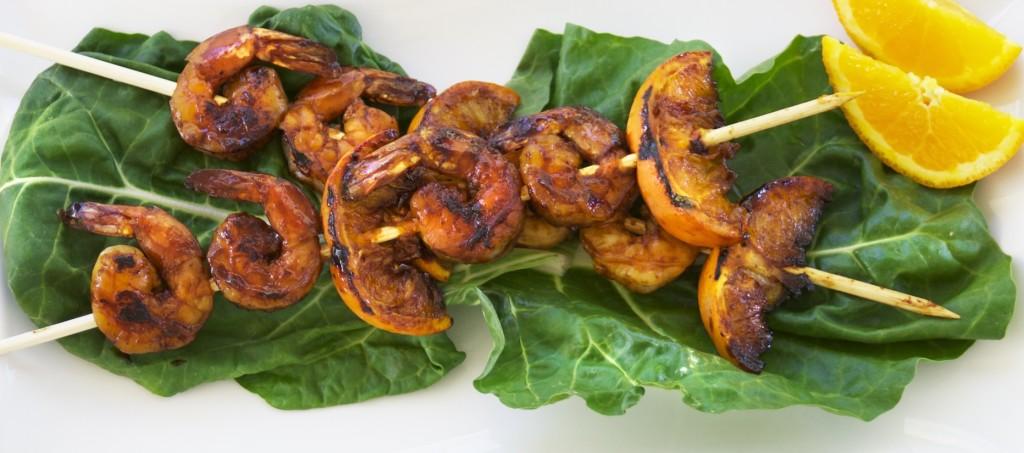 Tamarind citrus shrimp skewers.