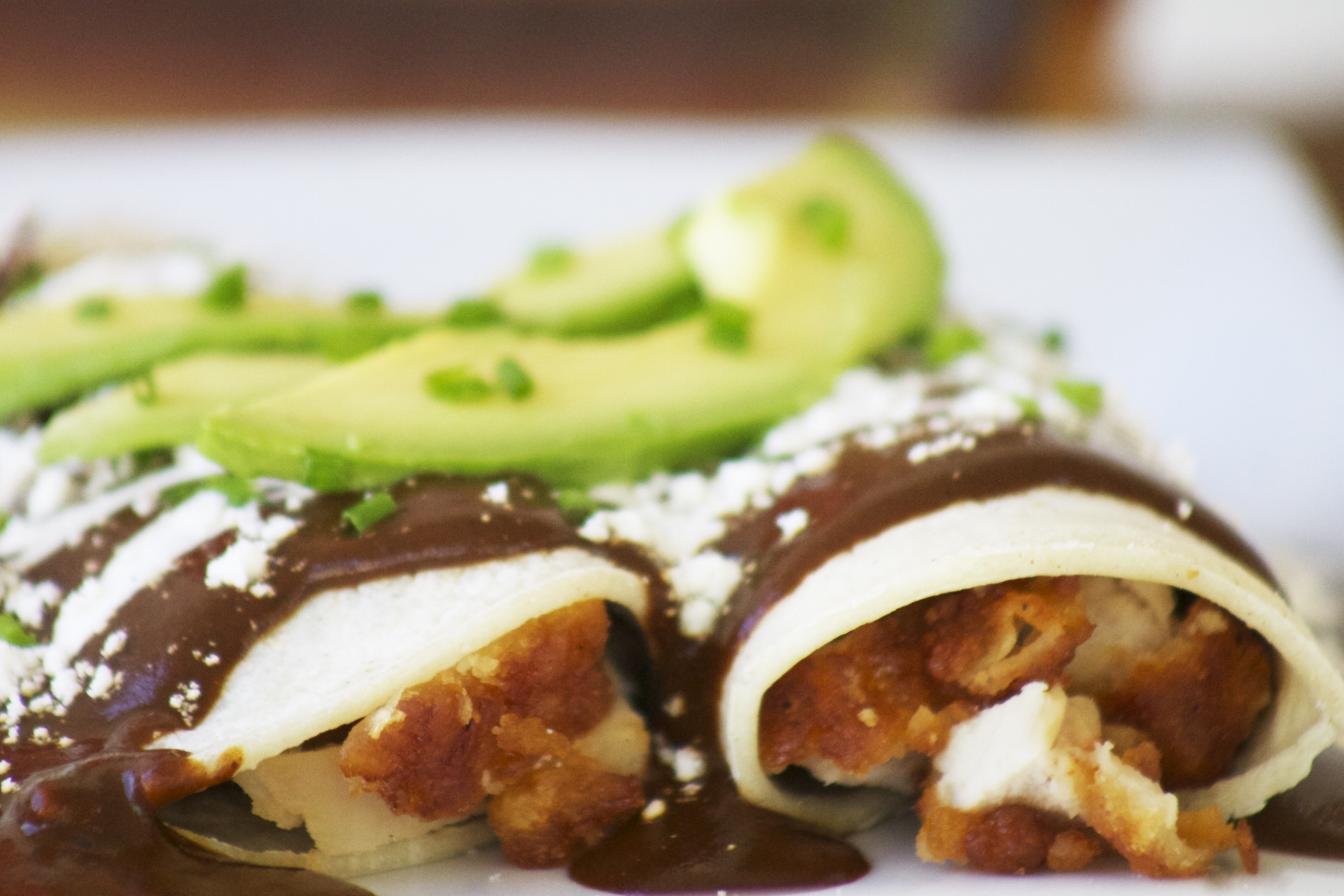 BBQ Mole Enchiladas. Combining Latino and American flavors.