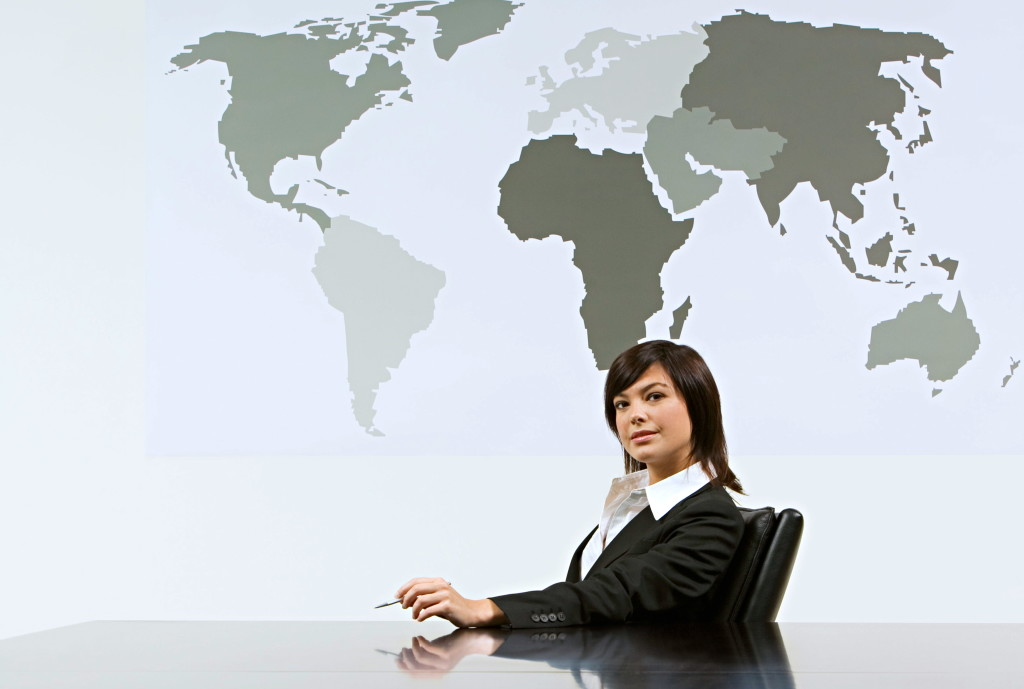 business woman with world map