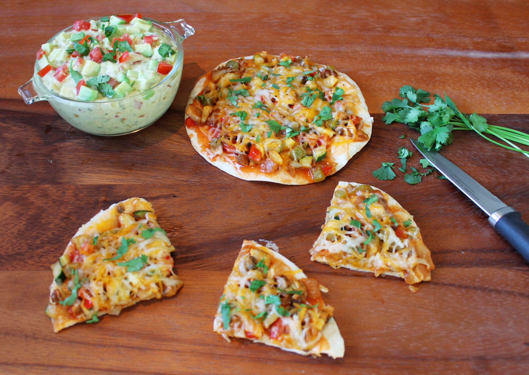 Vegetable Quesadillas and Creamy Avocado Salsa Dip