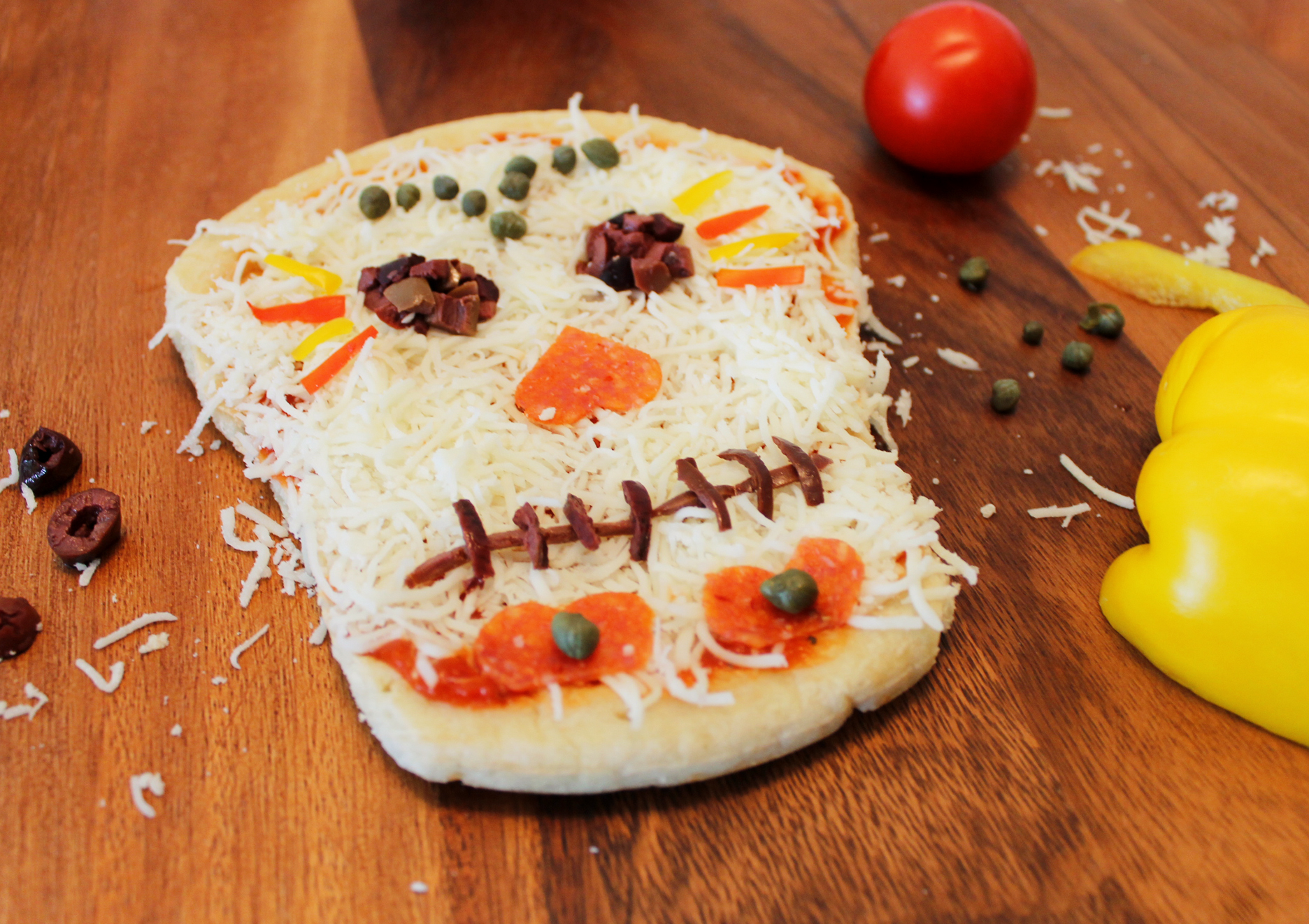 Dia de los Muertos skull pizza Day of the Dead