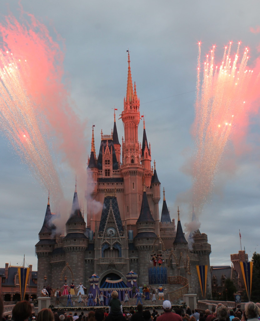 Cinderella's castle holiday show and fireworks Disney