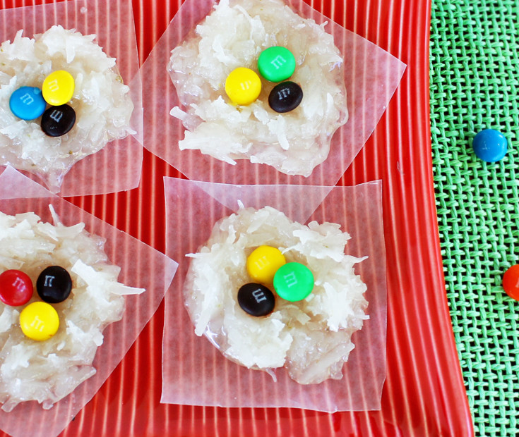 coconut candy with M&Ms
