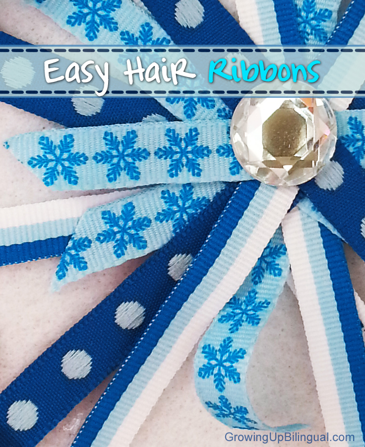 DIY winter blue hair bows