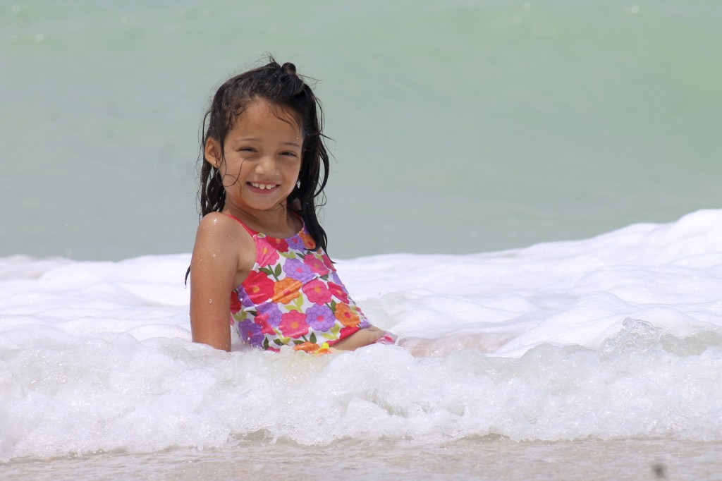 Hispanic girl at the beach
