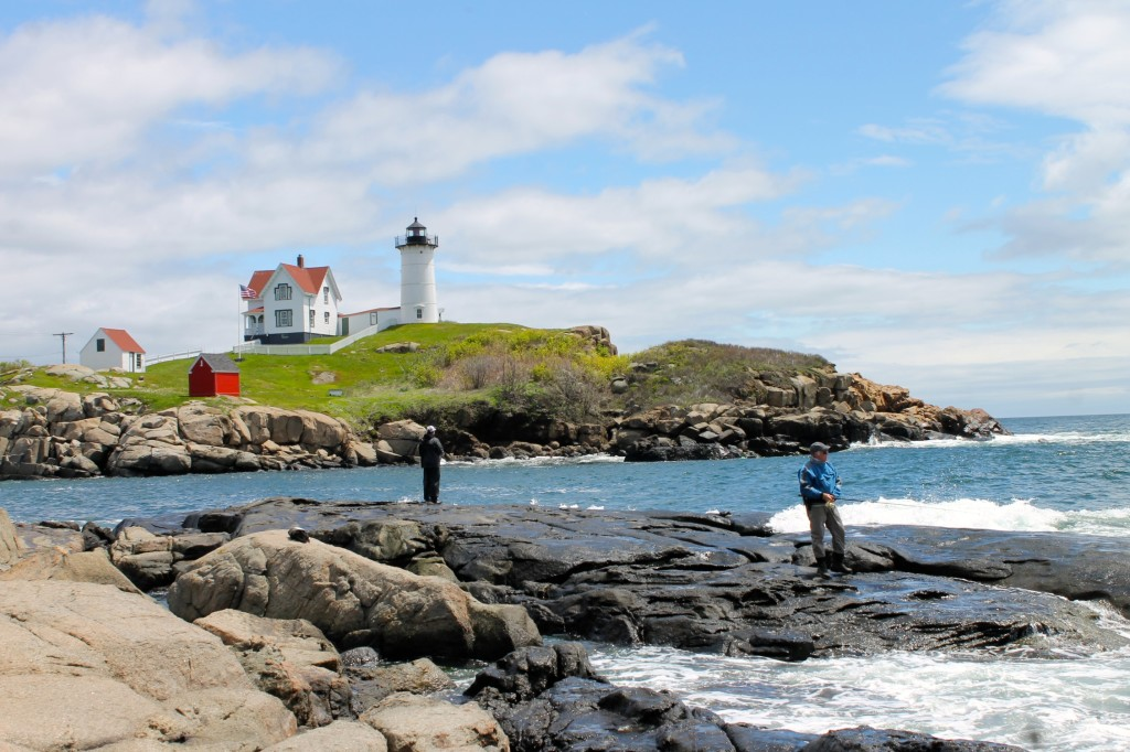 Nubble Light house fishermen