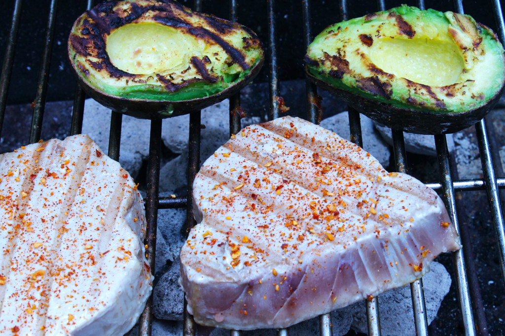 Grilling tuna and the avocado