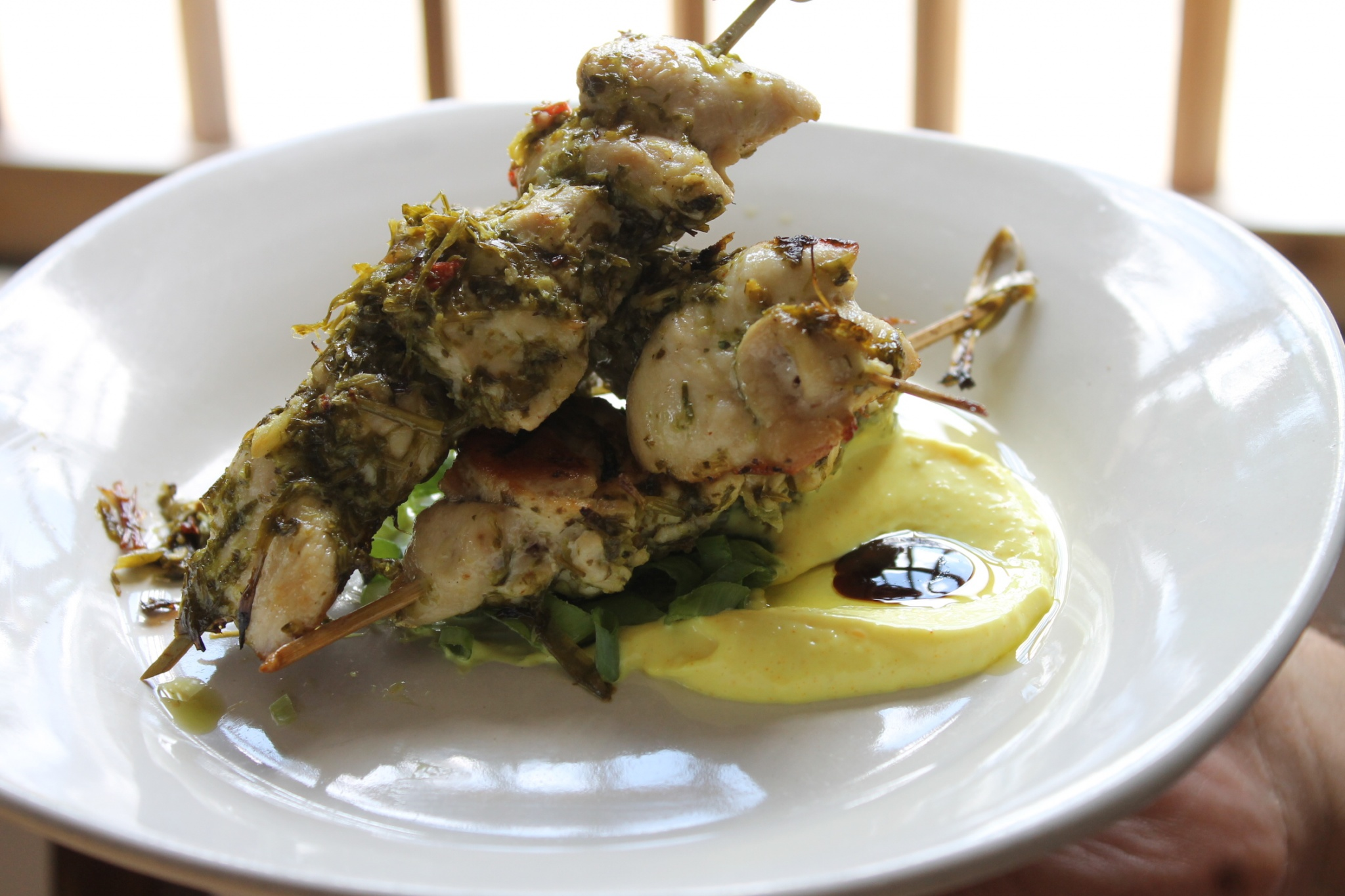 Grilled Chicken Skewers with Olive Oil, Garlic, Parsley and Chimichurri at Taverna del Caballo St Augustine