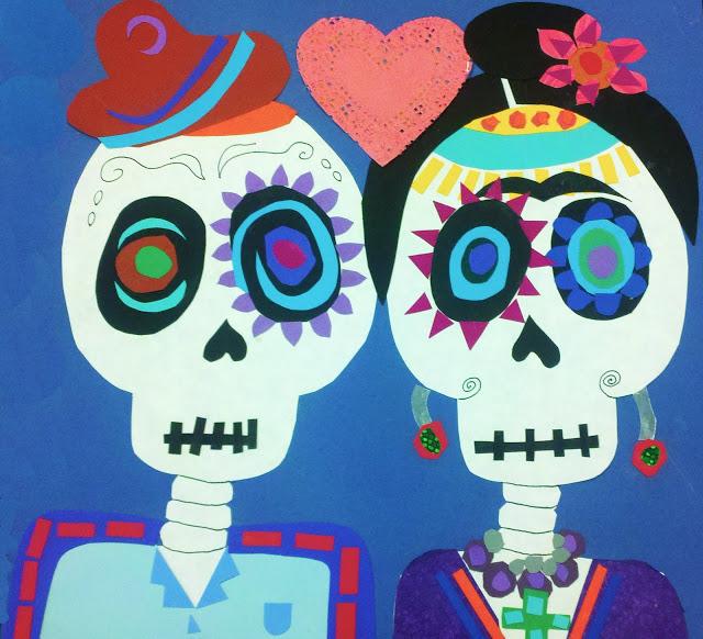 calavera collage for El Dia de los Muertos