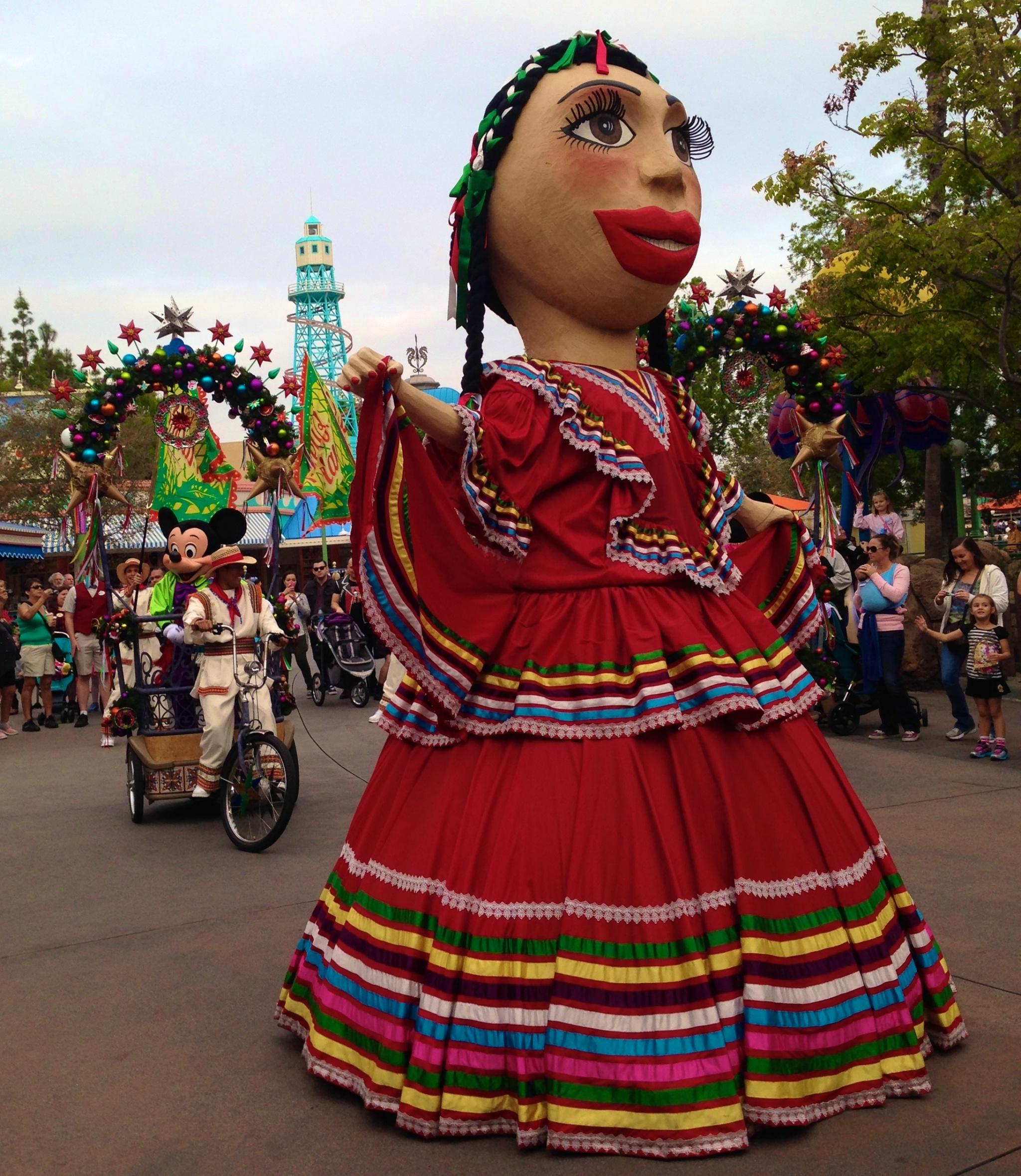 Viva Navidad Mexican mojiganga doll and Mickey