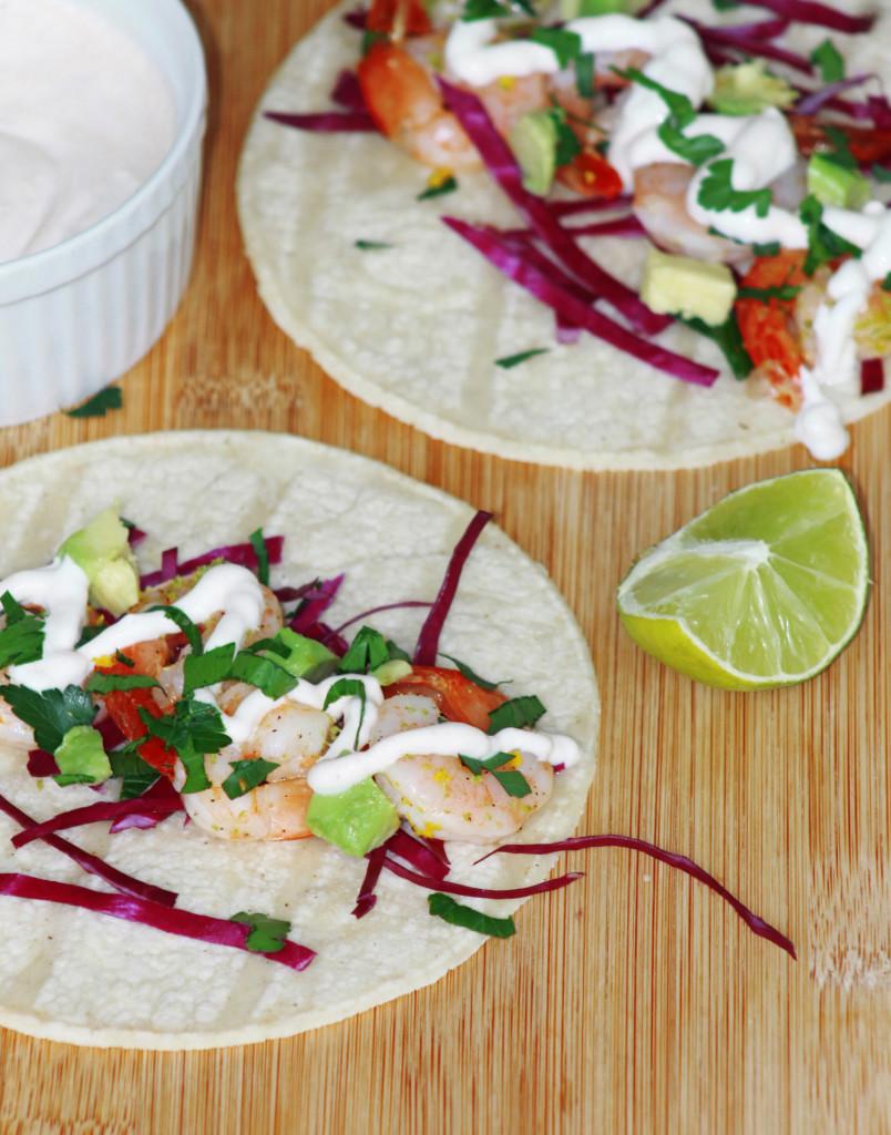 shrimp tacos with chipotle crema