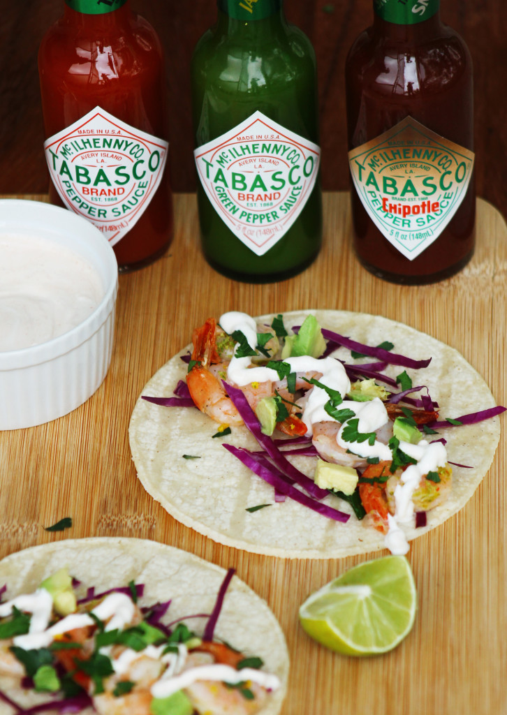 shrimp tacos with chipotle crema and tabasco sauces