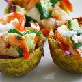 citrus jalapeño shrimp with chipotle crema on plantain cups