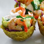citrus jalapeño shrimp with chipotle crema on plantain cups
