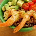 shrimp and avocado rice bowl