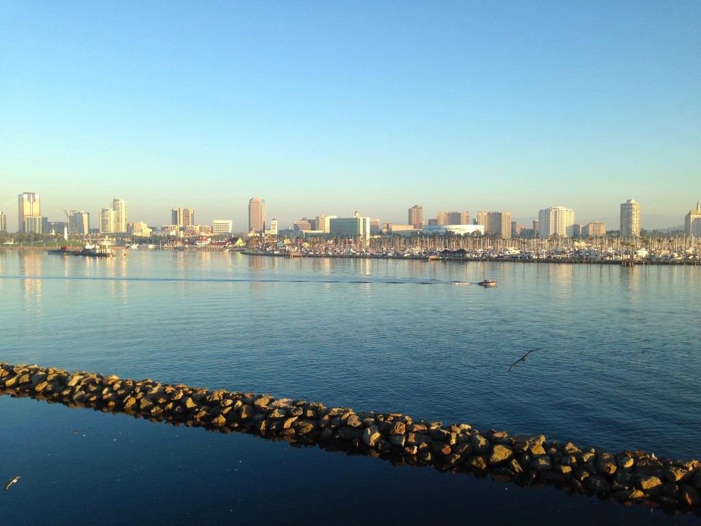 View of the Long Beach skyline and harbor from the Queen Mary.