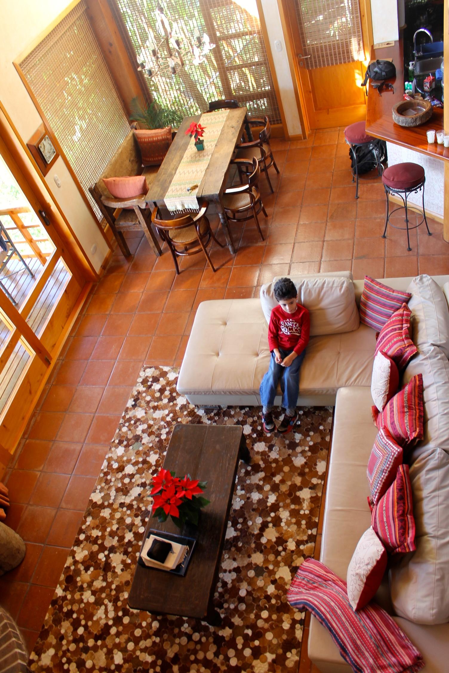 Villas de B'alam Ya living room and dining area in lake Atitlán, Guatemala