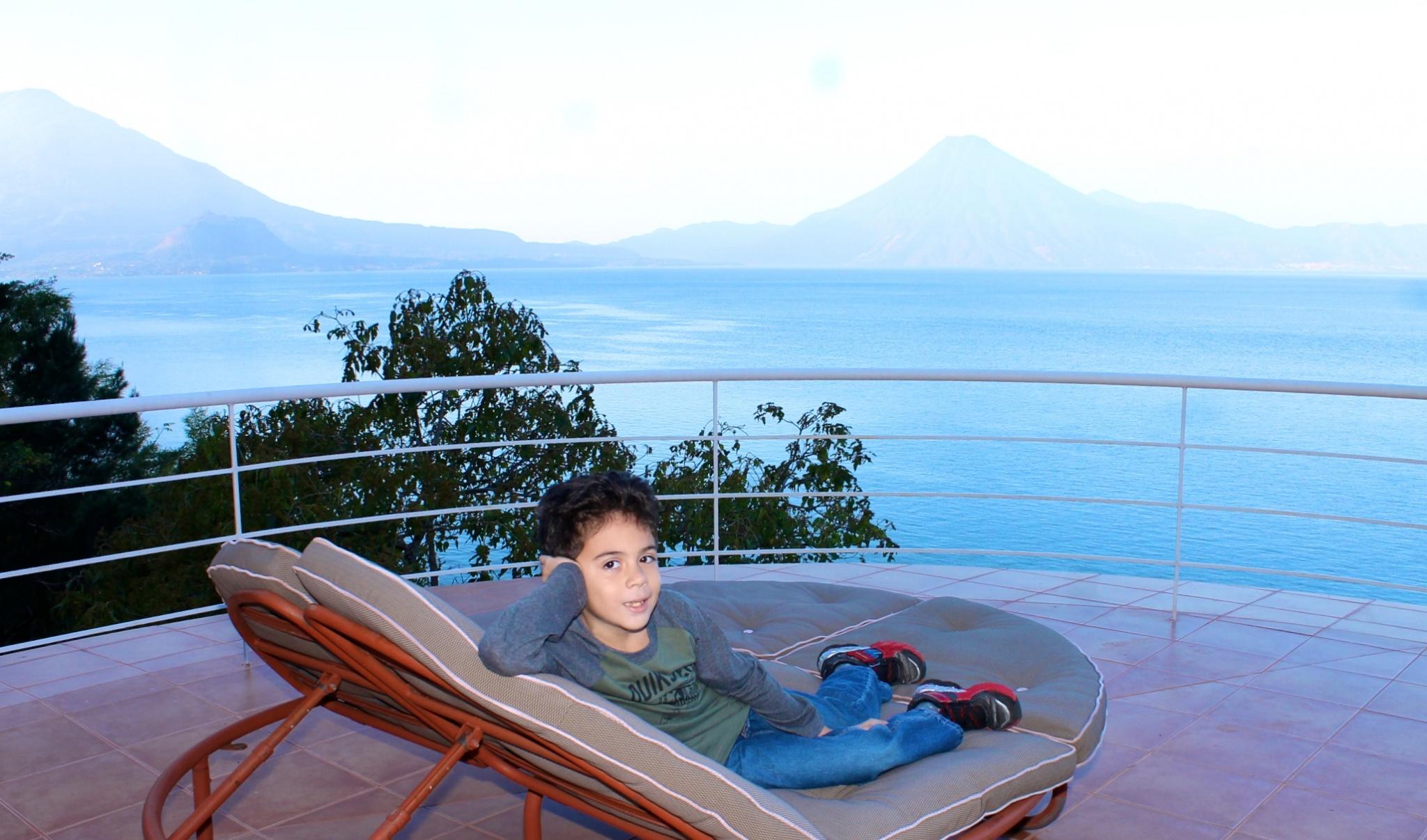 Terrace overlooking the lake on the second floor of the Villas B'alam Ya in Atitlan, Guatemala