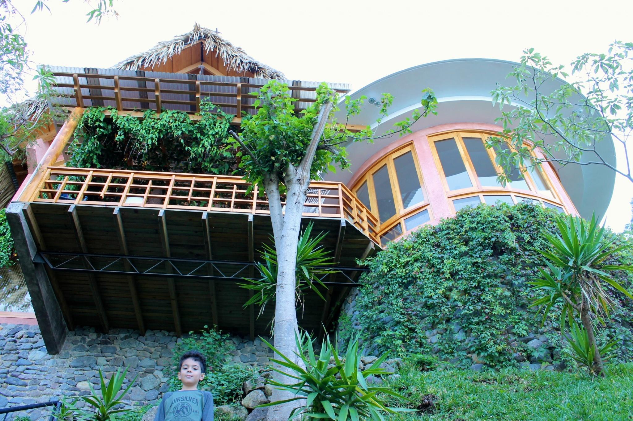 Villa B'alam Ya perched on the side of the mountain, Atitlan, Guatemala