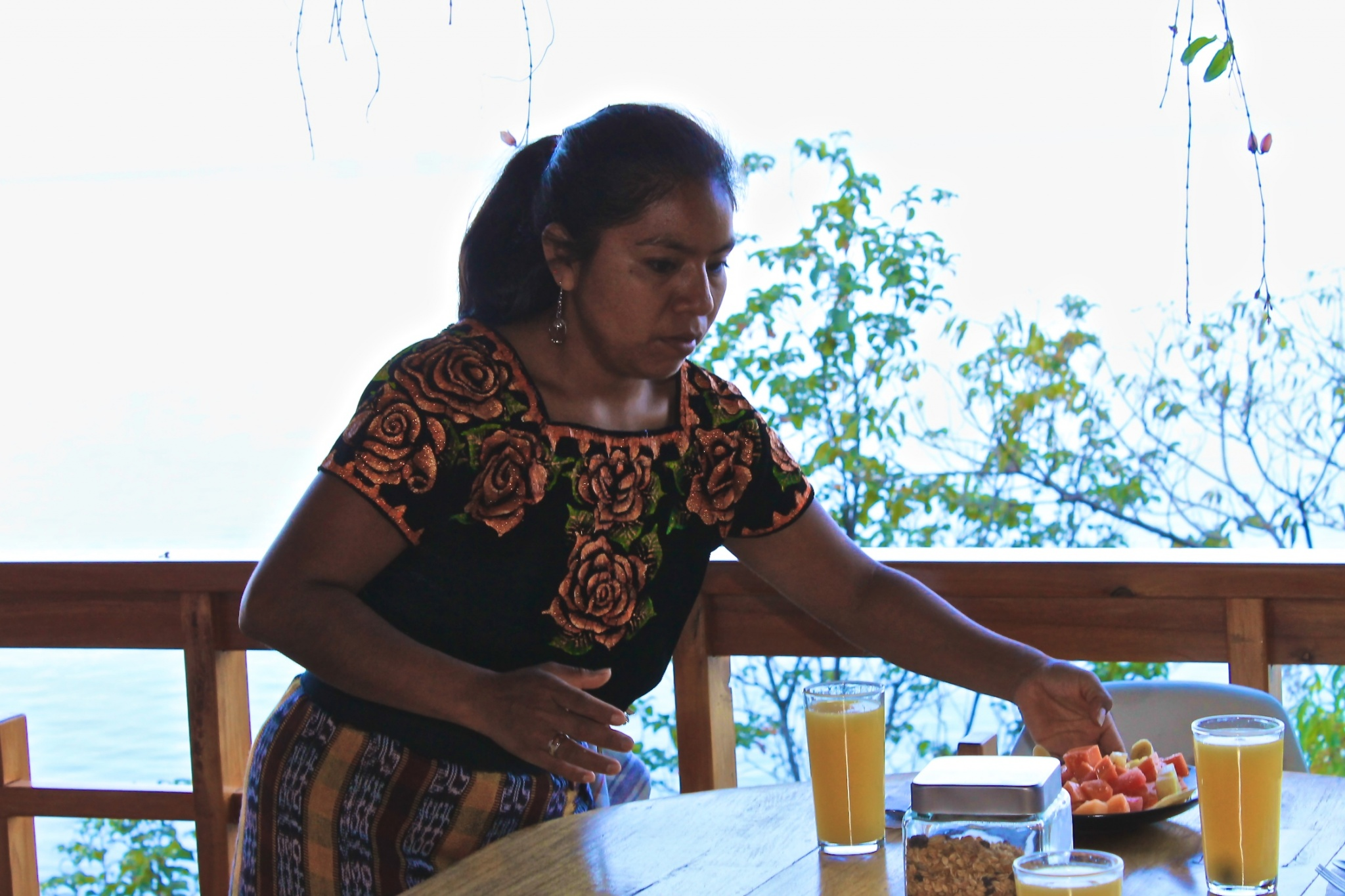 breakfast being served at Villas de B'alam Ya, lake Atitlan, Guatemala