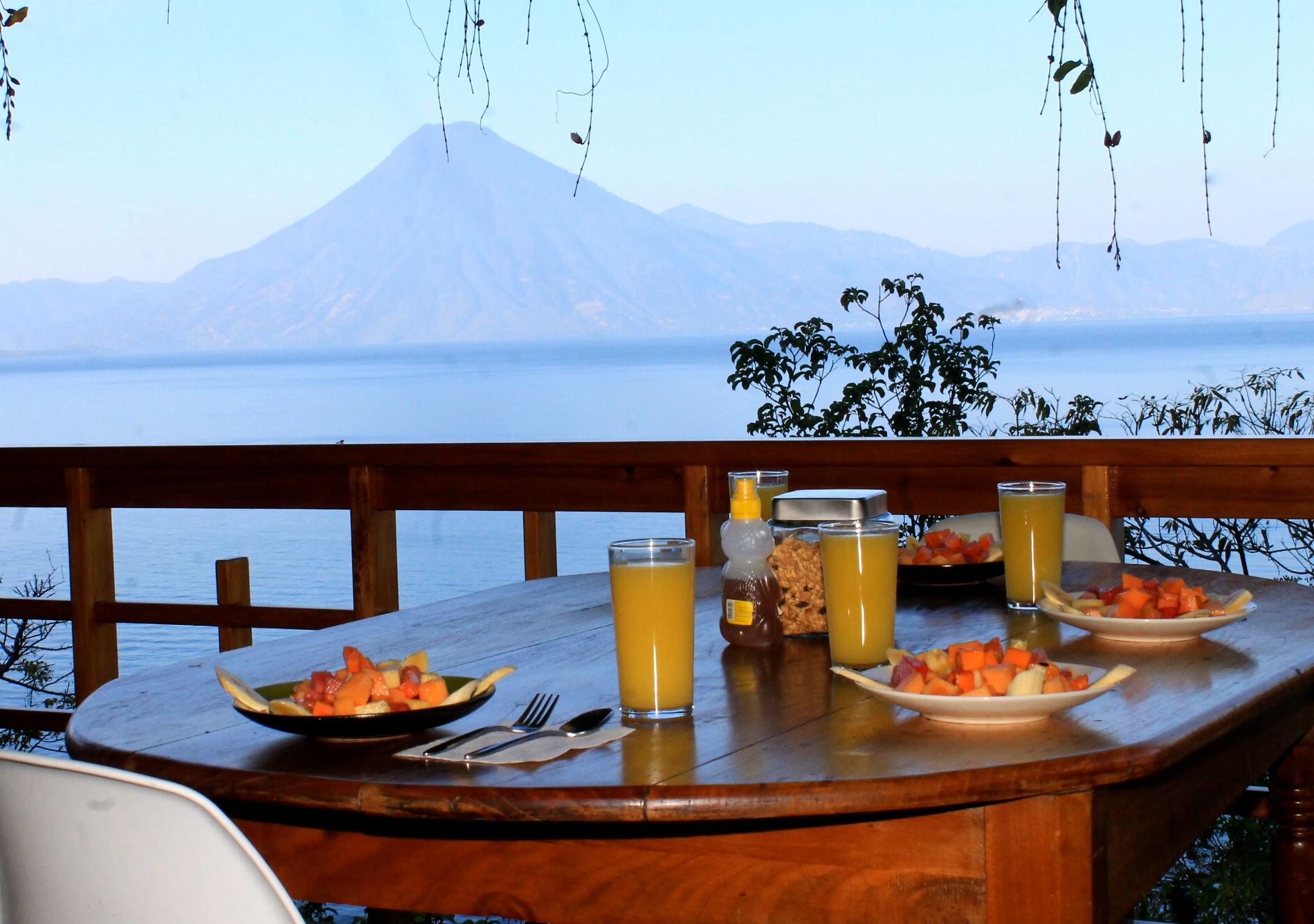breakfast with a view of lake Atitlan  at Villas B'alam Ya , Guatemala