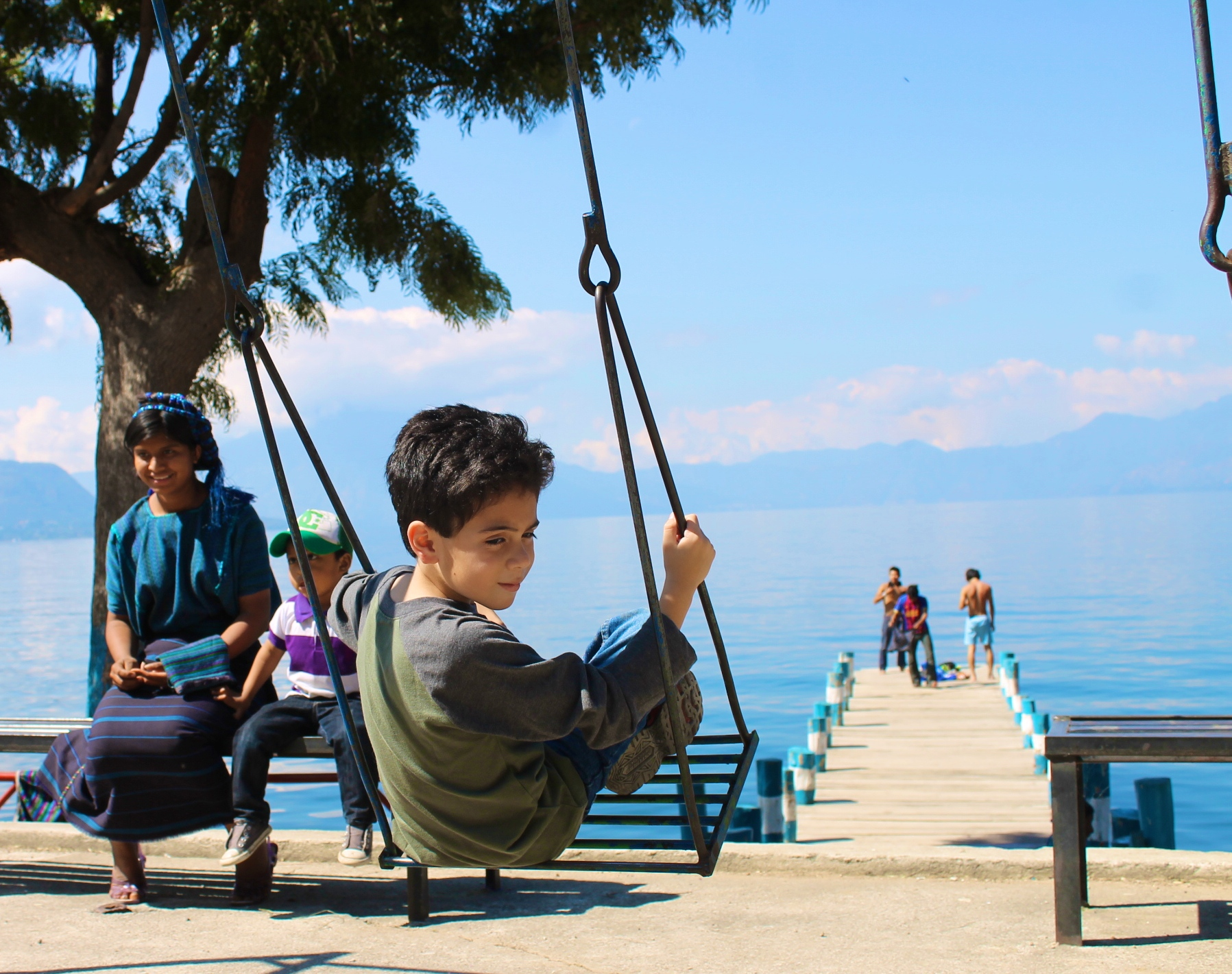 Swinging in San Antonio Palopo's playground in lake Atitlan