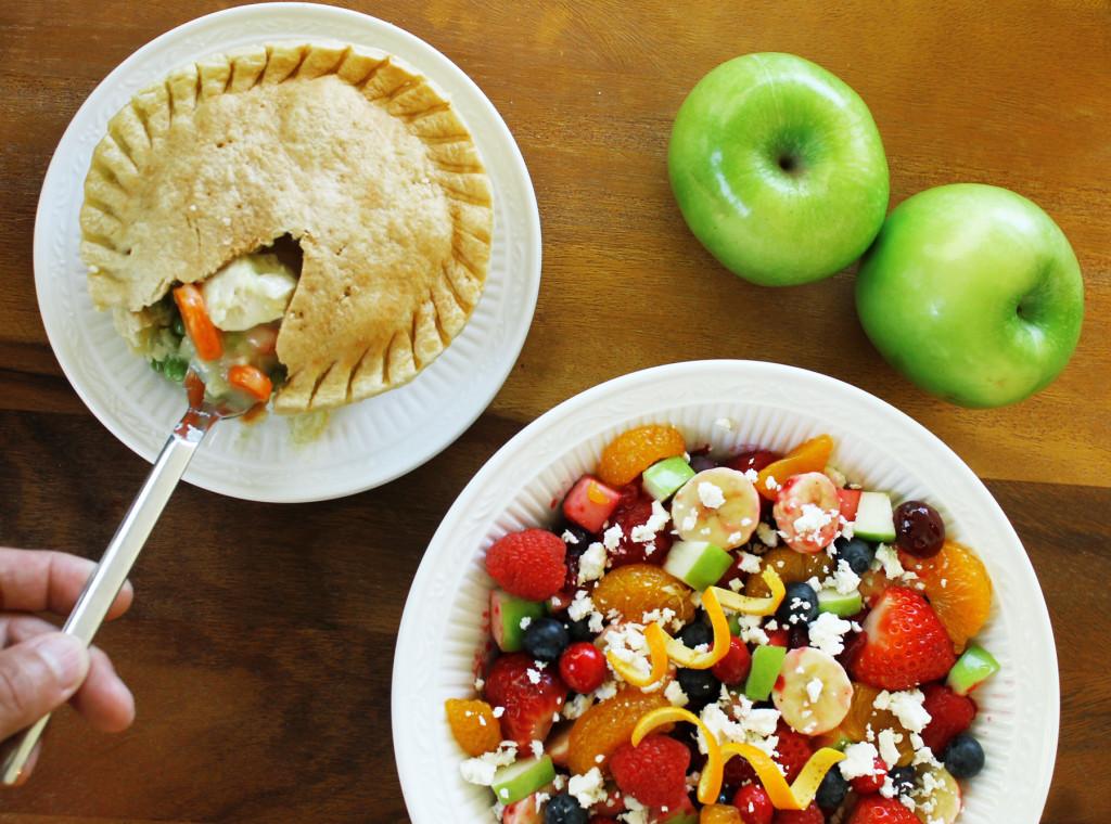 Cranberry fruit salad with Marie Callender's chicken pot pie