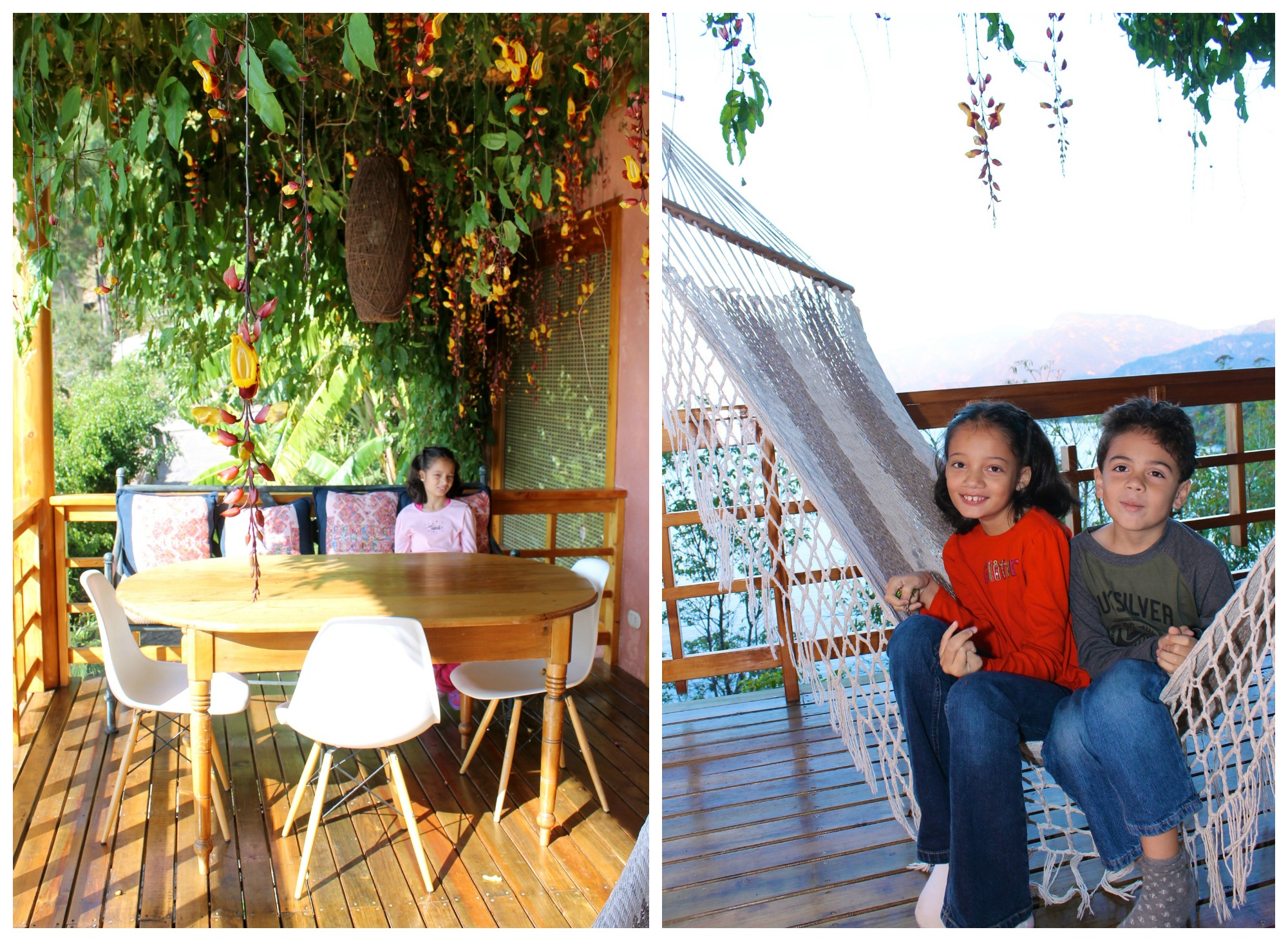 On the terrace balcony at Villas de B'alam Ya, lake Atitlán , Guatemala