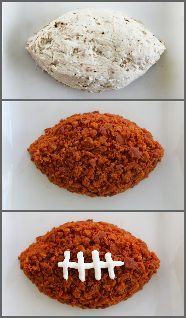 football cheese ball with chorizo for your football party