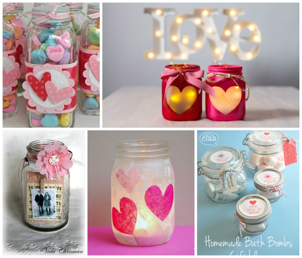 Valentines crafts in mason jars