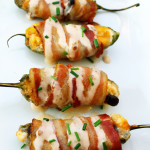 bacon wrapped cheese filled jalapeños