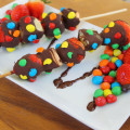 M&M and chocolate fruit kabobs