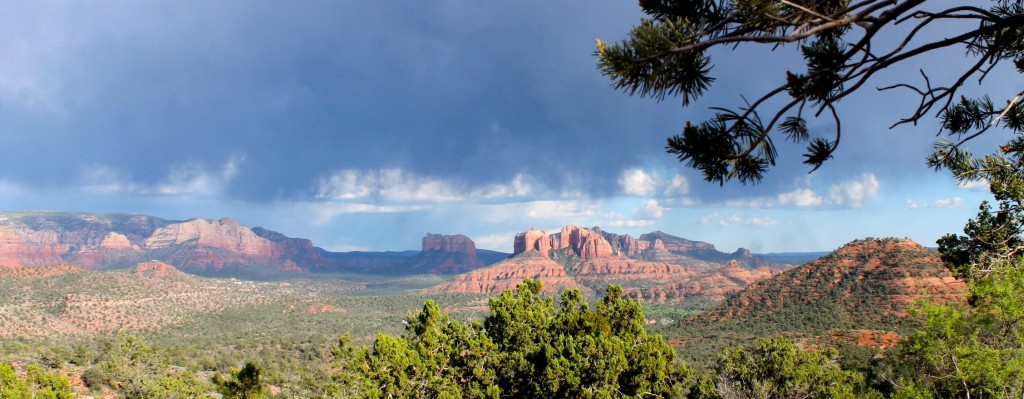Sedona view of red rocks with storm