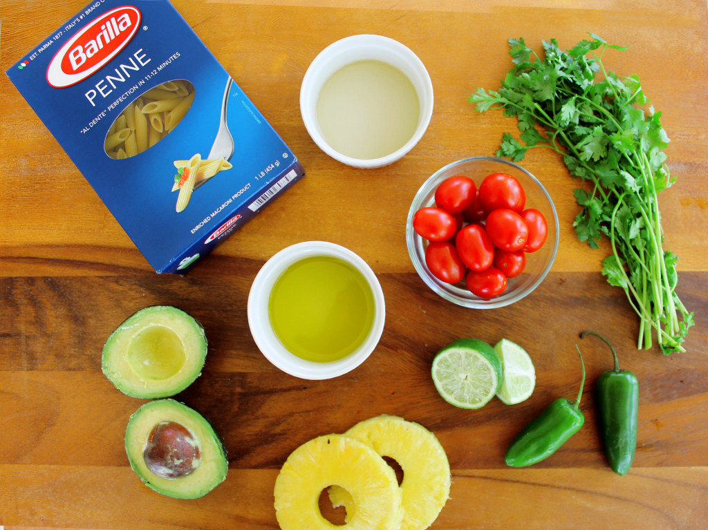 Ingredients for Spicy Pineapple and Avocado pasta salad