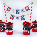 4th of July cake banner and patriotic snacks
