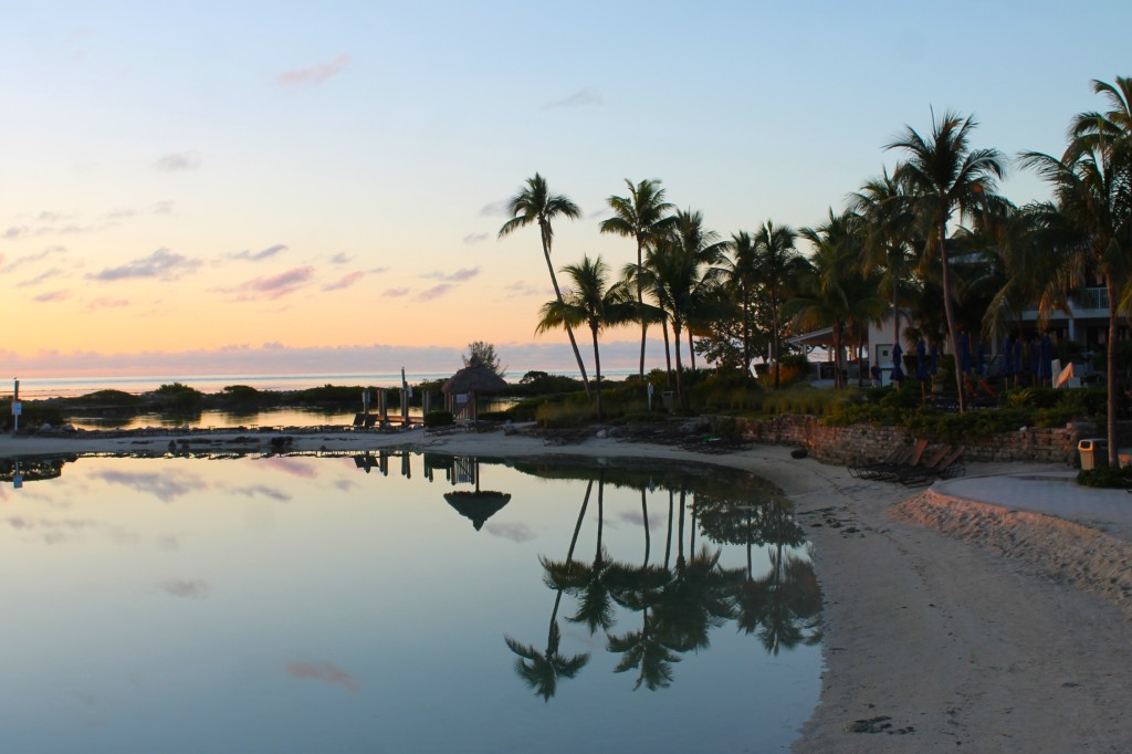 View of Hawks Cay saltwater lagoon at sunrise