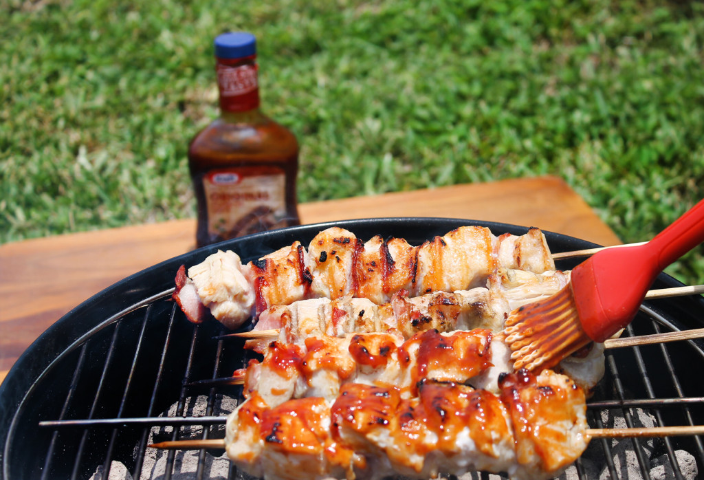 grilling BBQ chicken skewers