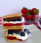 4th of july snacks strawberry and blueberry s'mores